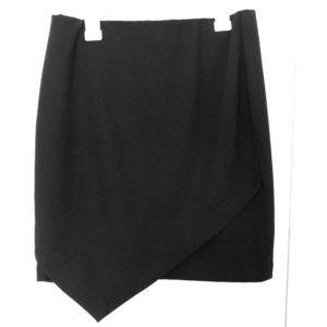 Black asymmetrical mini skirt